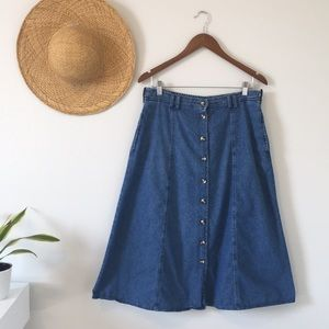 Vintage Cottagecore Denim Skirt by Willow Ridge